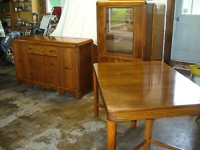 Fabulous Antique 1930S Art Deco Waterfall 3 Piece Dining Room Set Andrewgaddart Wooden Chair Designs For Living Room Andrewgaddartcom