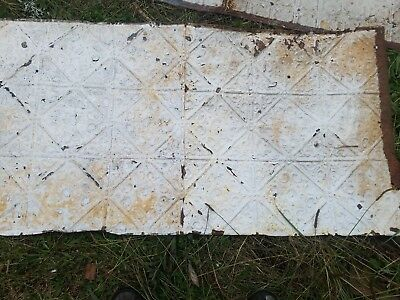 """TIN CEILING TILE PANEL - ANTIQUE ARCHITECTURAL SALVAGE,  1905  24"""" by 48"""""""