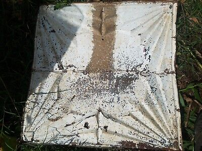 "TIN CEILING TILE PANEL - ANTIQUE ARCHITECTURAL SALVAGE,  1905  24"" by 24"""