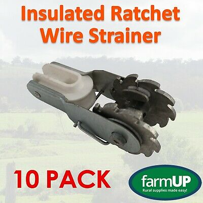 10x Permanent Insulated Ratchet Wire Strainer - Electric Fence New