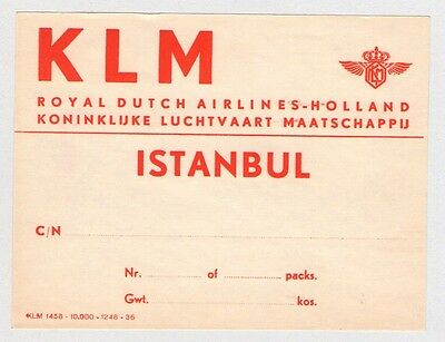 Klm Holland Royal Dutch Airlines To Istanbul Turkey Luggage Label 1950's
