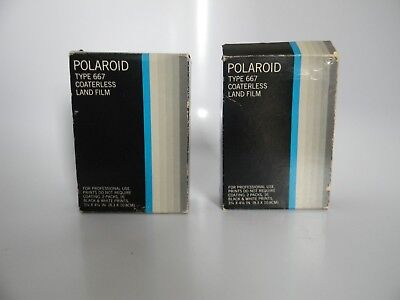 Lot of 2 Polaroid Type 667 Coaterless 2 Pack Land Film Black & White Exp 02/1980
