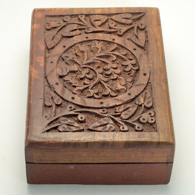 Vintage Hand Carved Wooden Jewelry/Trinket Box from India - Unique and Intricate
