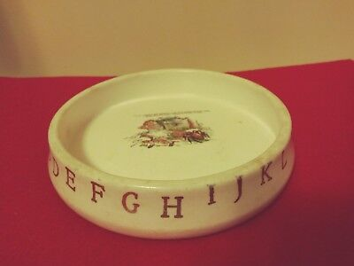Vintage Baby Feeding Dish - Alphabet & Miss Muffet - 6 in. diameter