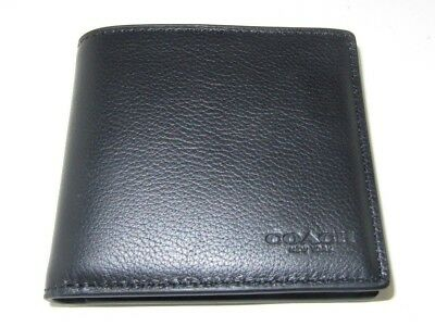 5a15a46273c1 Coach Men s F75084 Double Billfold Wallet Black Sport Calf Leather New NWT   150