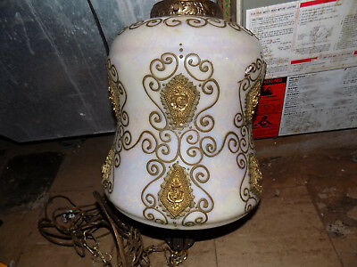 Antique Hanging  Brass Painted Porcelain Glass Chandelier Light Fixture