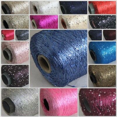 Sale 1 Cone 500gr Nylon Polyester Sequin Hand Knitting Wrap Shawls Crochet Yarn