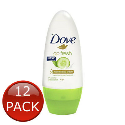 12 x DOVE ROLL ON DEODORANT GO FRESH CUCUMBER GREEN TEA DEO ANTIPERSPIRANT 50ml