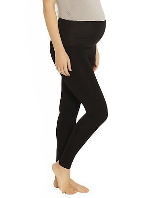Maternity Leggings | Black Full Length Angel Maternity Thick Winter Tights Pants
