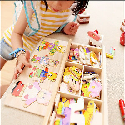 Wooden Baby Kids Bear Changing Clothes Puzzle Set Children Educational!