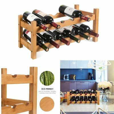 12 bottleTimber wine rack cabinet storage shelf  natural wood bar stand  homfa