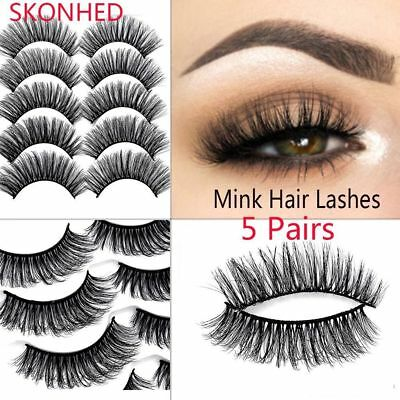 SKONHED 5Pairs 3D Mink Hair False Eyelashes Thick Wispy Natural Cross Lashes New