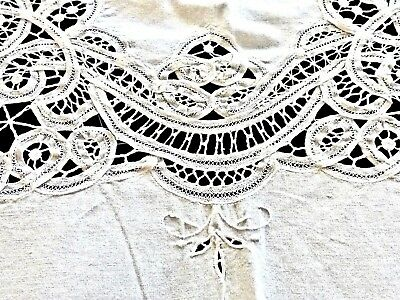 Magnificent 100% White Coton Hand Crafted Butenburg  Lace & 6 Napkins Tablecloth