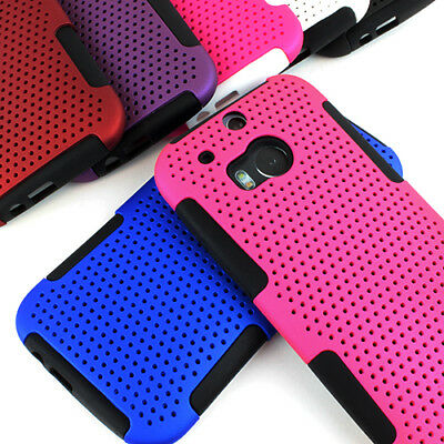 For HTC One M8 Mesh Fishnet Hybrid Shockproof Silicone Case Cover