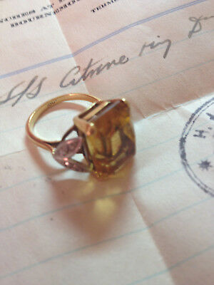 Vintage Citrine and Diamond Ring - owned by daughter of 10th Viscount Torrington