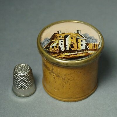 19th Century Miniature French Eglomise Boxwood Box Circa 1820 Georgian Treen