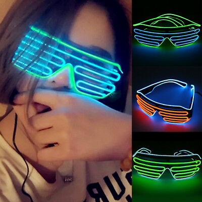 Colorful Glow LED Glasses Frame Flashing Light Up Shutter Shades Rave Par gghh