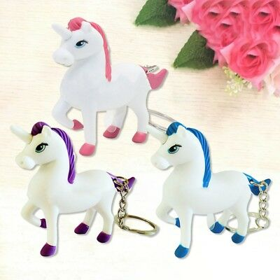 Lovely Gift LED Light Toy Unicorn Key Chain Car Keyring Pendant Strap with Sound