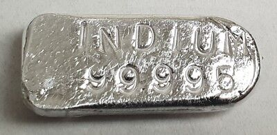 10 gram Indium ingot, 99.995% great for collectors, chemistry or alloying