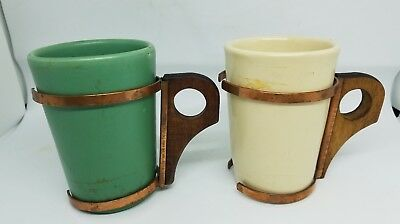Set of 2 Catalina Island Pottery Copper Wood Green White Mugs
