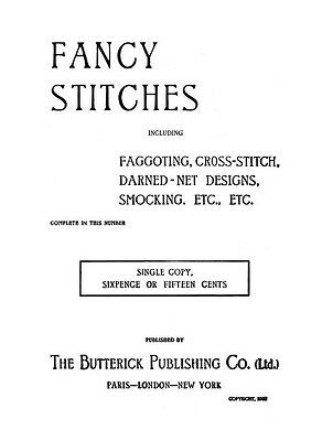 Butterick Fancy Embroidery Book c.1902 Excellent Stitch Instructions REPRO