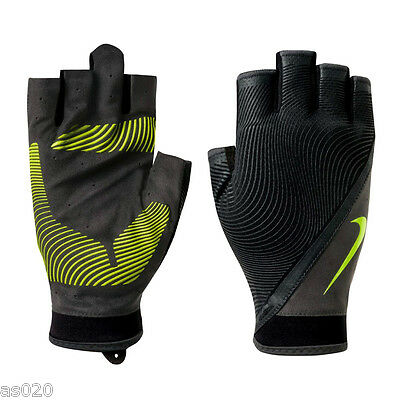 NEW Nike Mens Havoc Fingerless Sports Weight Lifting Gym Training Gloves - Black