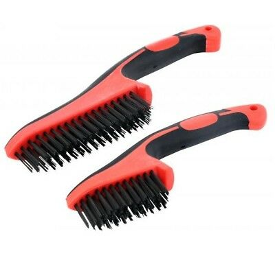 """CT4555 2PC 8.5 & 11"""" Pointed End Scratch Brush, Wire Brush Soft Grip Handles"""
