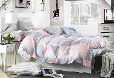 Pastel Rio 100% COTTON Pink White Grey quilt cover set Triangles Duvet Cover Set
