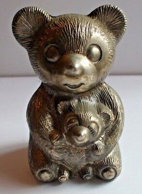 """Vintage Silver Tone Metal Bear And Cub Coin Bank 5"""""""