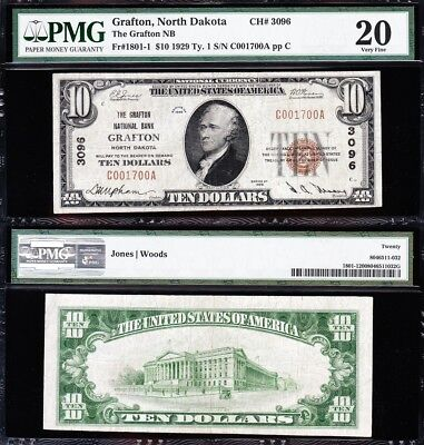 VERY NICE *RARE* Bold Mid-Grade VF 1929 $10 GRAFTON, ND National Note! PMG 20!
