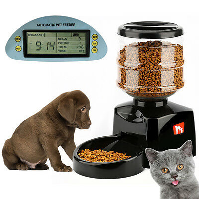 5.5L Automatic Pet Feeder Food Dish Bowl .Dispenser LCD Display For Dog C Gift