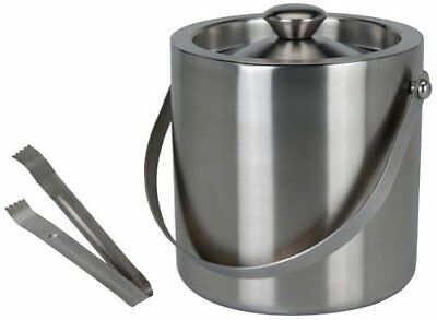 Silver Ice Bucket With Tongs Stainless Steel PartyDouble-Walled Insulated