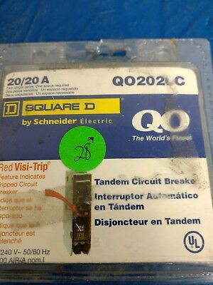 New Square D Tandem Circuit Breaker w/Red Visi-Trip QO2020C 20/20A 120/240V