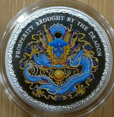 2012 COOK ISLANDS $5 Prosperity Brought by the BLUE DRAGON 1oz Silver PROOF Coin