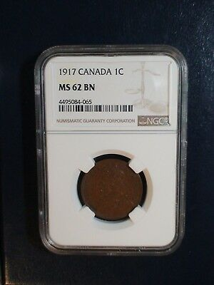 1917 Canada LARGE Cent NGC MS62 BN 1C Coin PRICED TO SELL RIGHT NOW!