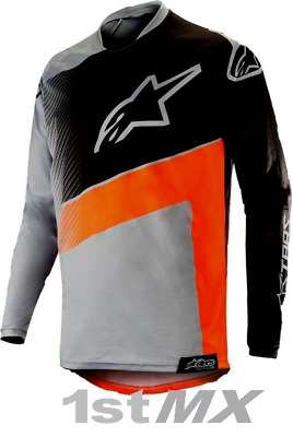 2019 Alpinestars Racer Supermatic Grey Orange Kid MX Motocross Race Jersey Youth