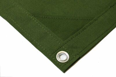 16' X 20' Green Canvas Tarp 12 oz Heavy Duty / Water Resistant