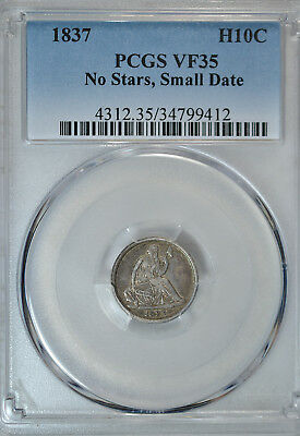 1837 Seated 1/2 dime, No Stars, PCGS VF35
