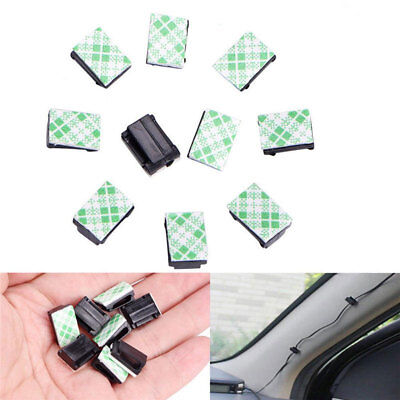 10/20/100Pcs Wire Clip Black Car Tie Cable Holder Mount Clamp Self Adhesive Fine