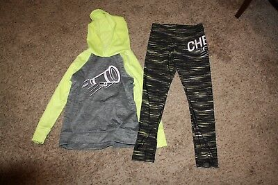 Justice Girls Cheer Sweat Suit Outfit Set Size 10 Leggings Gray Neon Yellow