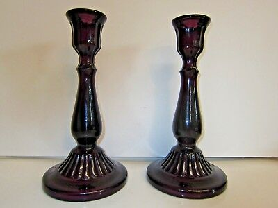 "Vintage Matching Pair of Amethyst Candle Stick Holders Large Heavy 10.5"" Purple"