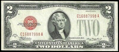 1928 D United States $2 Dollar Legal Tender Red Seal Note Fr. #1505 About Unc.