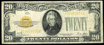 1928 United States $20 Dollar Small Size Gold Certificate Note Fr# 2402 Fine