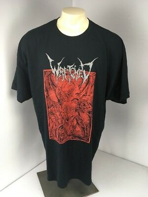 Wretched Death Metal Band Music Skeletal Human Face Red Black S/S T-shirt 3XL