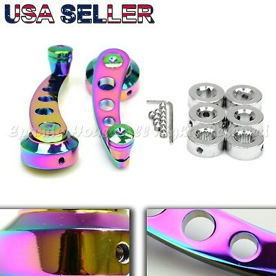 """For Old Jdm Cars! 4.7"""" Aluminum 4-Hole!anodized Neochrome Window Cranks Winders"""