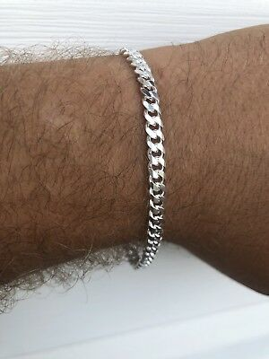 "Mens Miami Cuban Link Bracelet Solid 925 Sterling Silver 8"" 5mm Made In Italy"