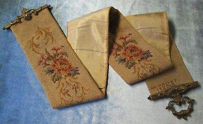 Antique Needlepoint Bell Pull Signed Dated 1927 Beautiful Florals Ornate Brasses
