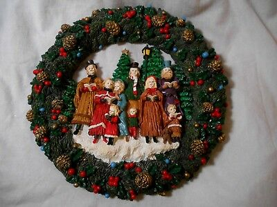 """12""""  Christmas Carolers WREATH Victorian Style clothing Hand painted Vintage EUC"""