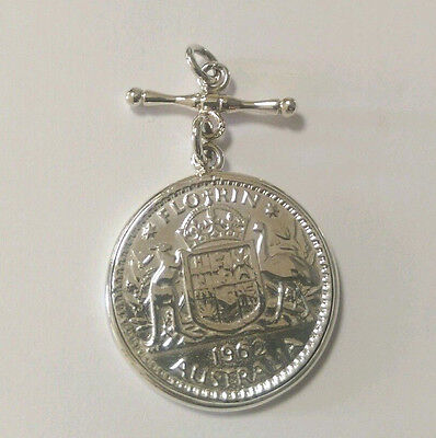 Sterling Silver 1962 Florin Coin Pendant With T Bar/Fob