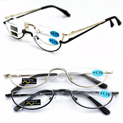 Half Moon Mens Women Vintage Spring Hinge Eyeglasses Reading Glasses 49mm +1 +4